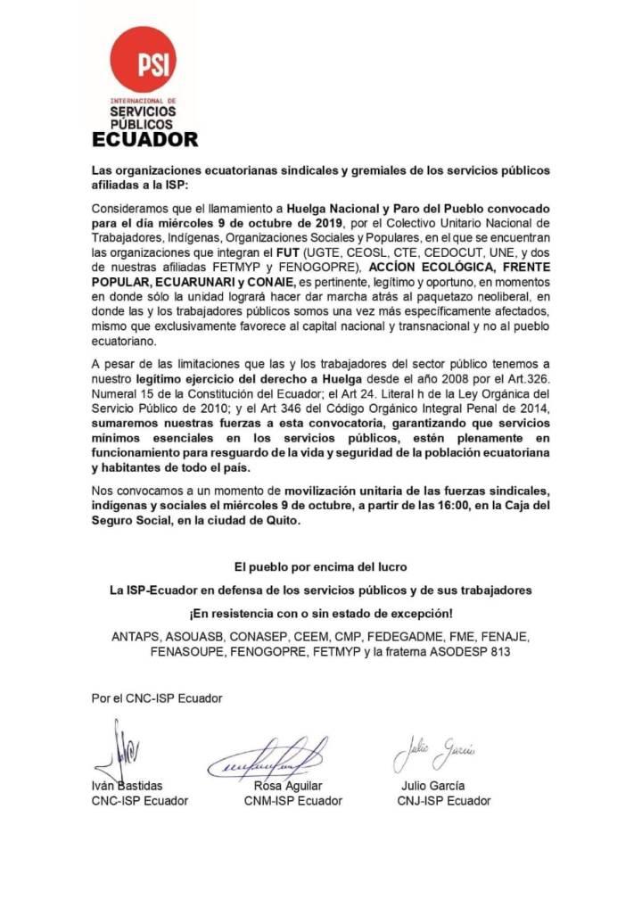 Comunicado de las organizaciones ecuatorianas sindicales y gremiales de los servicios públicos afiliados a laISP.