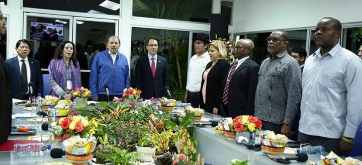 Presidente Daniel Ortega y vicepresidenta Rosario Murillo se reúnen con miembros del Consejo Político del ALBA-TCP;#SOMOCISMONUNCAMAS #FNTNNIUNPASOATRAS #ELTAYACANVENCEDOR