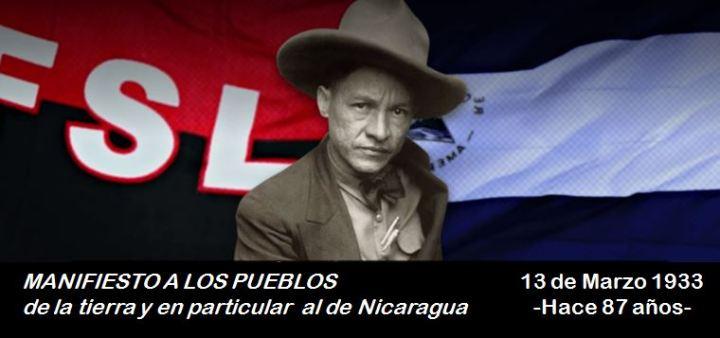 """Sandino lanza el """"Manifiesto a los pueblos de la tierra y en particular al de Nicaragua""""."""